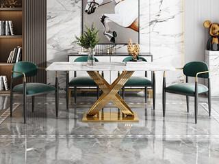 轻奢风格 中华白大理石 镀金不锈钢 艺术弧形支架 1.4m餐桌