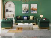 梵克美家 轻奢风格 优质超纤皮 沙发组合(1+1+3)(抱枕随机发货)