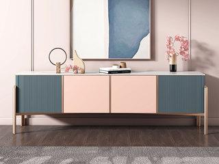 輕奢風格 高級莫蘭迪色系 穩固鍍金支腳 2.0m電視柜