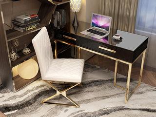轻奢风格 镀金不锈钢 细腻光滑台面 时尚黑 1.4m书桌