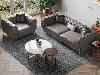 轻奢风格  进口落叶松 皮艺 YS602(1+3)沙发组合(抱枕随机发货)