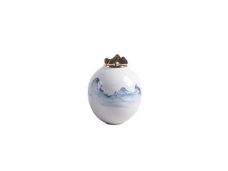 新中式风格 铜+手绘陶瓷 花器