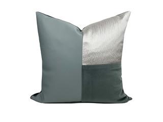 轻奢 肌理布+皮革+绒布 蓝绿色、灰色 花纹 抱枕