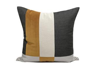 轻奢 肌理布+皮革 棕色、白色、黄色 花纹 抱枕
