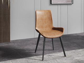 极简风格 PU皮 碳素钢脚 橙色 餐椅(单把价格 需双数购买 单数不发货)