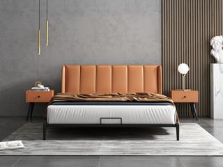极简风格 橙色 床头柜
