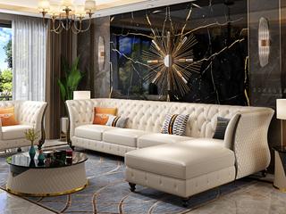 轻奢风格 头层真皮 俄罗斯进口松木框架 转角沙发(1+3+左贵妃)(抱枕随机发货)