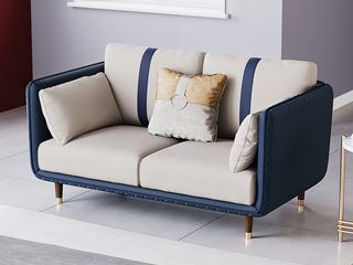 轻奢风格 高端纳帕皮+实木框架 双人沙发