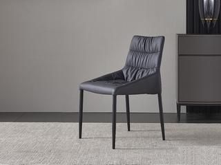 极简 环保纳帕皮/黒砂 餐椅