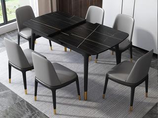 轻奢 劳伦黑金岩板 1.2/1.5米 拉伸 餐桌
