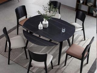 极简 劳轮黑金岩板 1.3米 圆餐桌