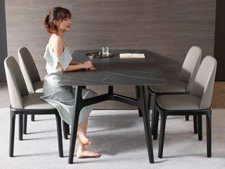 极简 阿玛尼灰岩板 1.4米 餐桌