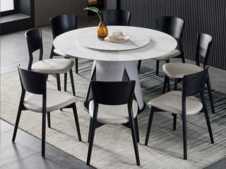 极简 雪山白岩板 1.3米 圆餐桌(不含转盘)