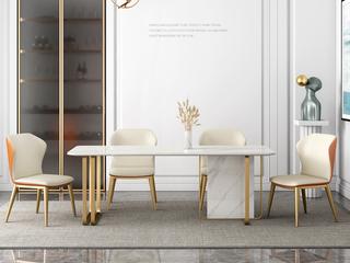 轻奢 雪山白岩板 1.5米 餐桌