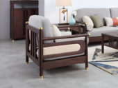 东方印记 新中式 紫檀色 泰国进口橡胶木+布坐垫单人沙发