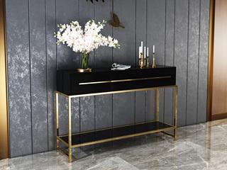 轻奢 高密度板+钢化玻璃 黑色 玄关