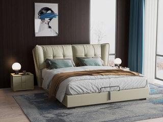现代简约 高弹舒适 优质皮艺软靠+白腊木 1.8米 青灰色 床