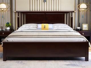 新中式 橡木檀艺 主卧 双人床 1.8米紫檀色床