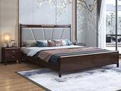 华韵 新中式 橡木 主卧 储物 双人床 1.8米超纤皮 高箱带抽屉床