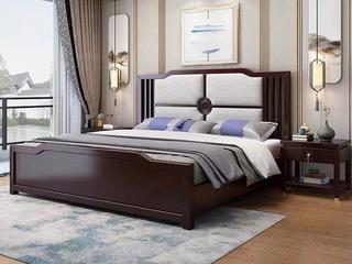 新中式 橡木檀艺 主卧 双人床 1.8米棉麻布床