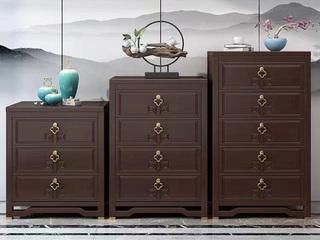 新中式风格 紫檀色 复古抽屉 橡胶木五斗柜