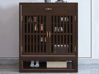 新中式风格 紫檀色 橡胶木 多层大容量鞋柜