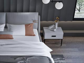 意式极简床头柜 TY03灰色皮艺床头柜