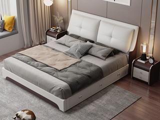 现代简约 皮艺 米白色+咖啡色 1.5*2.0米高箱床(抽屉躺左)