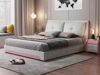 现代简约 皮艺 米白色+粉色 1.5*2.0米高箱床(抽屉躺左)