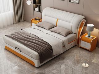 现代简约 皮艺 米白色+金橙色 1.5*2.0米高箱床(抽屉躺左)
