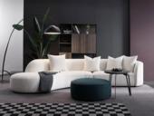 洛林菲勒 极简风格 柔美曲线造型 泰迪羊羔毛面料 俄罗斯进口落叶松框架 转角沙发(3+右贵妃)