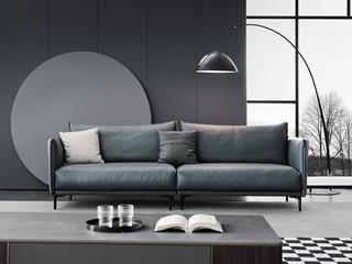 极简风格 真皮 俄罗斯进口落叶松框架 四人位沙发
