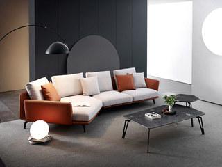 极简风格 棉麻面料 皮艺框架 俄罗斯进口落叶松框架 转角沙发(3+右贵妃)