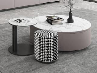 现代极简 卡其色柜体 雪山白岩板 圆茶几+角几+圆凳 茶几组合(大圆直径900mm)