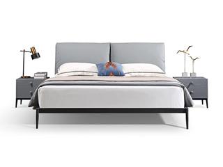 极简风格 真皮 碳素钢脚 实木排骨架 1.8*2.0米床