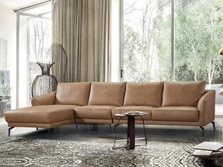现代简约 头层真皮 焦糖色 转角沙发(1+3+右贵妃)