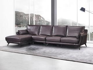 现代简约 头层真皮 酱紫色 转角沙发(1+3+右贵妃)