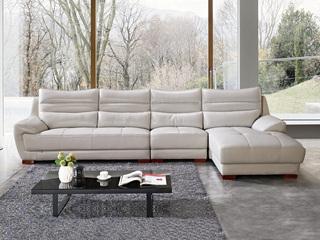 现代简约 头层真皮 冷灰色 转角沙发(1+3+左贵妃)
