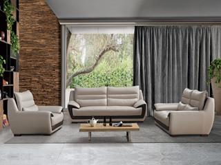 现代简约 头层真皮 米白色 沙发组合(1+2+3)