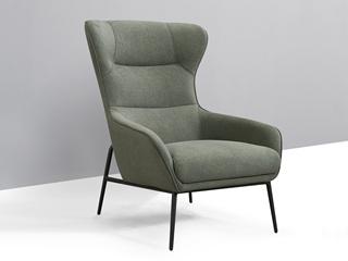 现代简约 科技绒 橄榄绿休闲椅