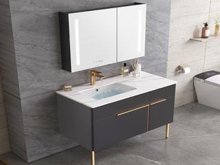 【包邮 送货到家】 轻奢风格 岩板台面 智能镜灯 80CM 落地式 浴室柜套装(龙头需单独购买)