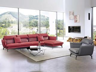现代简约 皮艺 红色+灰色 转角沙发(1+3+左贵妃+双扶单人位)
