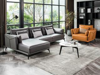 现代简约 皮艺 高级灰+橙色 转角沙发(3+右贵妃+双扶单人位)