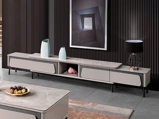 现代简约 亮光岩板台面 E1级板材柜体 金属脚 电视柜