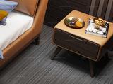 卡罗亚 时尚简约 白蜡木 皮艺 橙褐色 床头柜