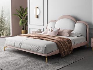 轻奢 全实木内架 白鹅羽绒 奶油粉+米白色 舒适柔软1.8米皮艺床(搭配10公分松木排骨架)