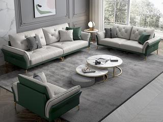 轻奢风格 全实木框架 羽绒公仔包 1+2+3布艺沙发组合