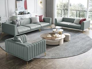 轻奢风格 全实木框架 羽绒公仔包 单人位 真皮沙发