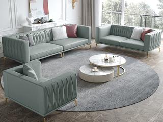 轻奢风格 全实木框架 羽绒公仔包 双人位 真皮沙发