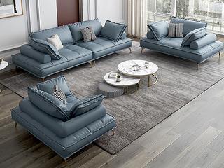 轻奢风格 全实木框架 三人位 布艺沙发